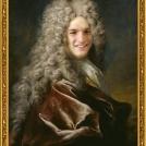 Fotomontáž <b>Portrétu muže ve vínové róbě</b>, autorem je Nicolas de Largillière. <br> Photomontage of the <b>Portrait of a Man in a Purple Robe</b> by Nicolas de Largillière.