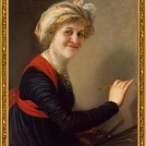Fotomontáž <b>Autoportrétu</b> od Élisabeth Vigée-Lebrun. <br> Photomontage of <b>Self-portrait in a Straw Hat</b> by Élisabeth Vigée-Lebrun.