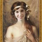 Fotomontáž portrétu <b>Dívky s bílou stuhou</b> od Alberta Lynche. <br> Photomontage of <b>The White Ribbon</b> by Albert Lynch.