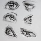 """Studie očí - více o mé kresbě očí najdete v <a href=""""http://malebno.cz/oci/"""">tomto článku</a>"""