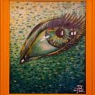 """Malba oka na desce ve žlutém rámu. Více <a href=""""http://malebno.cz/v-hlavni-roli-zelena-dve-nove-malby-akrylem/"""">ZDE </a>"""