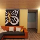 Motýl namalovaný na posuvných dveřích