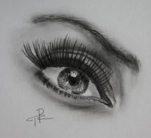 Kresba oka tužkou.