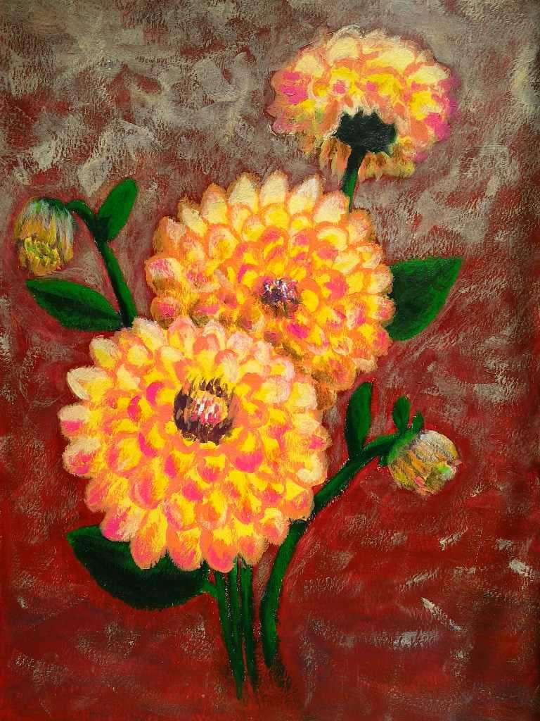 Malba zátiší s květinami jiřinami akrylem.