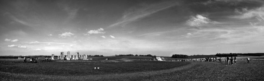 Černobílá fotografie Stonehenge