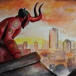 Hellboy - malba vodovkami a tuší