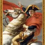 Fotomontáž - student zasazen do obrazu na místo Napoleona Bonaparta
