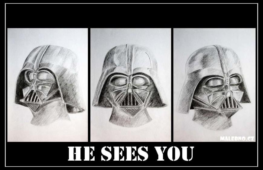 Kresba Dartha Vadera - Darth Vader vidí vše