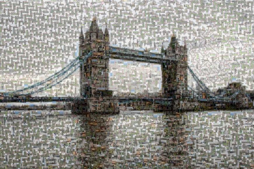 Tower Bridge - snímek složený z mnoha malinkých fotek.