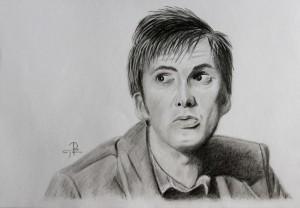 portrét Davida Tennanta - kresba podle fotografie