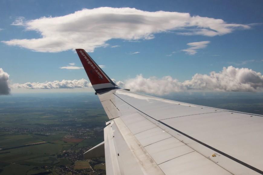 Má fotografie z okénka letadla společnosti Norwegian