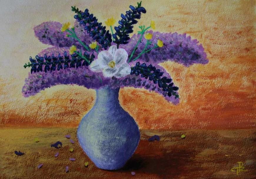 malba zátiší s květinou ve váze - Tereza Preislerová
