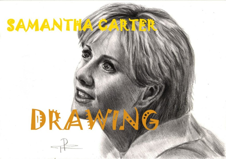 Kresba fan art - portrét Samanthy Carterové ze sci-fi seriálu Hvězdná brána SG-1