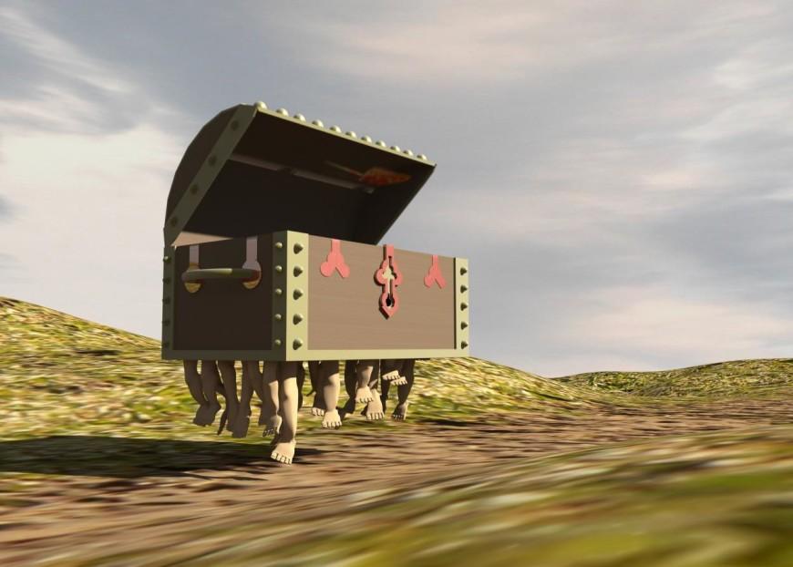 Zavazadlo Terryho Pratchetta ve skoku - animace v Maye