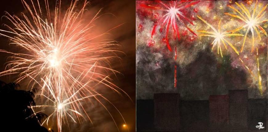 Fotografie a malba ohňostroje