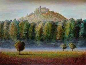 Malba Bezdězu Terezy Preislerové akrylovými barvami - Bezděz obraz