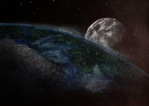 Pastelová malba na černém papíře, Měsíc pastelem