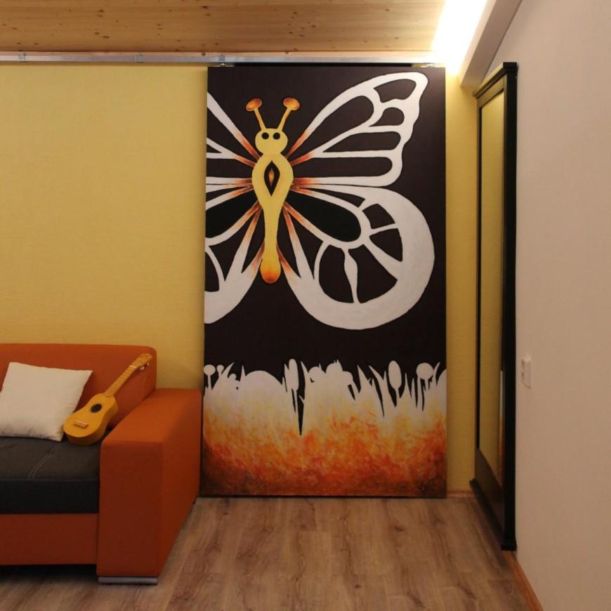 Oranžová a žlutá malba, moderní interiér