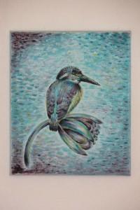 Ledňáček - malba akrylem Terezy Preislerové na plátno