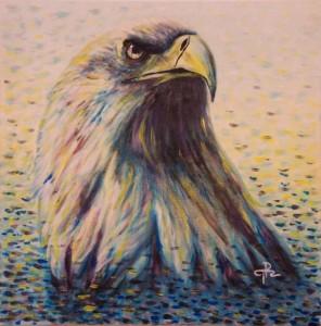 Malba orla, Tereza Preislerová, čárkovaná barevná malba