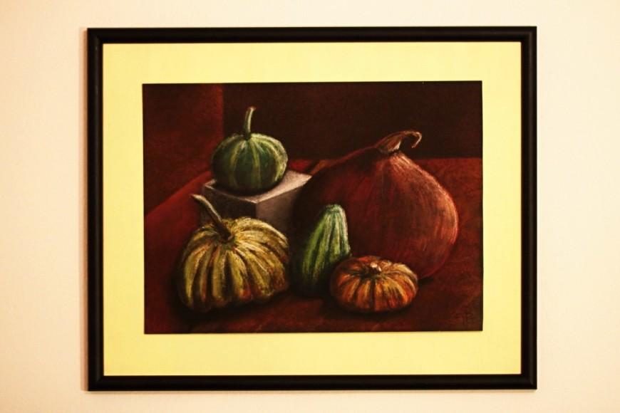 Zátiší zeleniny, ZUŠ, malováno pastelem na černý podklad