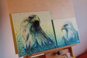 Malba orlů na plátna - tématický dvojobraz