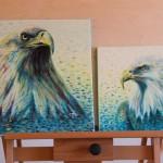Dvojobraz - orli. Expresivní malba na plátně.