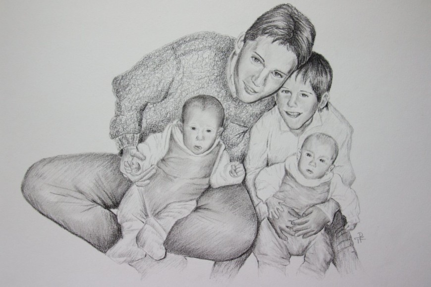 kresba skupinového portrétu